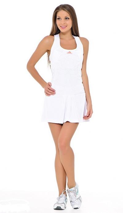 Белое короткое теннисное платье Adidas