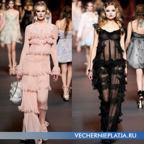 Вечерние платья с воланами, Christian Dior