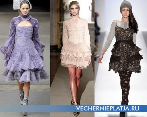 Платья с воланами фото - Alexander McQueen, Luisa Beccaria, Charlotte Ronson