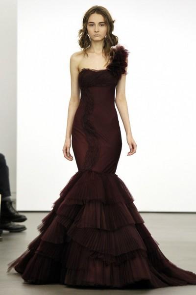 Свадебное платье русалка с бретелью на одно плечо, Вера Вонг 2013