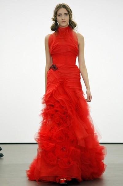 Красное свадебное платье Vera Wang