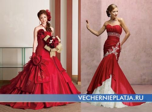 Необычные красные свадебные платья фото