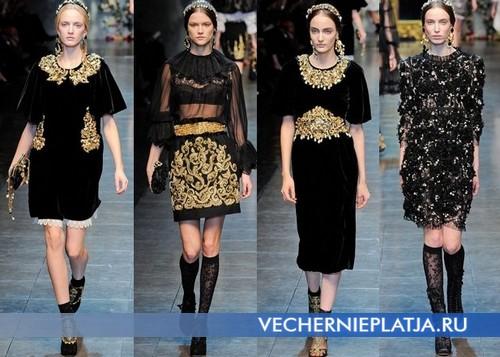 Черные платья с золотой вышивкой на Новый год 2013, Dolce & Gabbana