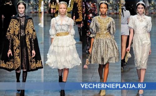 Платья на корпоративный Новый год 2013 в викторианском стиле, коллекция Осень-Зима 2012-2013 от Dolce & Gabbana