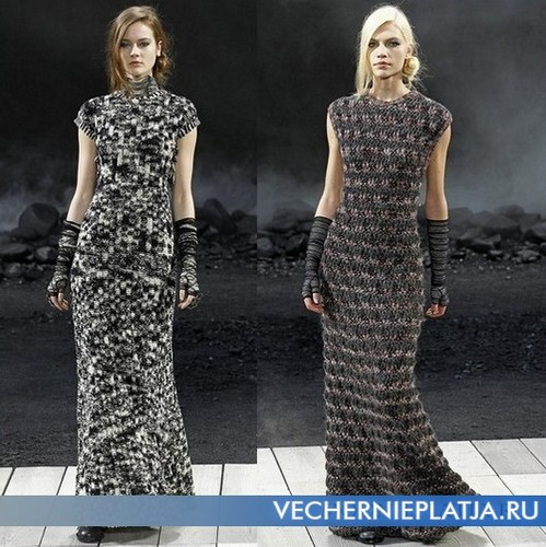 Длинное серое шерстяное платье от Chanel