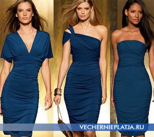 Короткое синее платье-трансформер Victoria's Secret