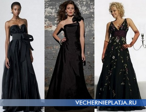 Модное черное свадебное платье фото