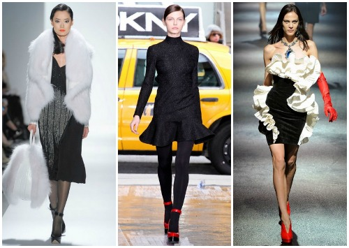 Черное платье с белыми и красными аксессуарами