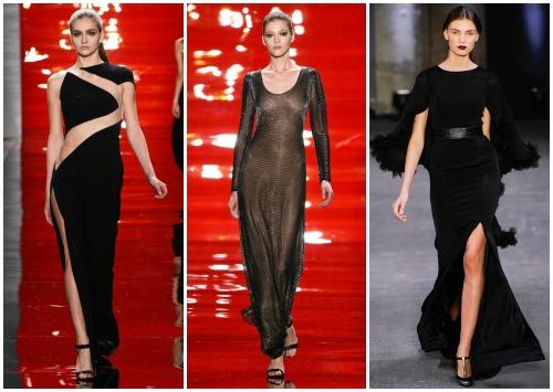 С чем носить черное длинное платье