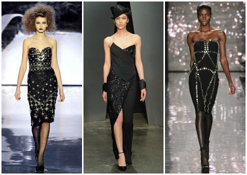 С чем носить черное платье-бюстье
