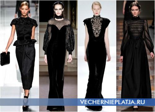 Длинные черные платья Осень-Зима 2012-2013 фото