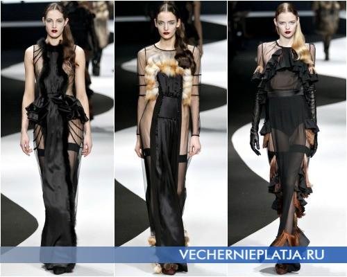 Прозрачные черные платья с мехом и воланами фото