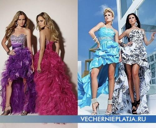 Короткие выпускные платья со шлейфом фото