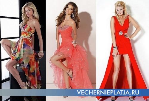 Красные короткие платья с длинным шлейфом