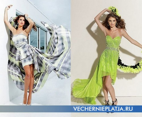Короткие платья со шлейфом фото