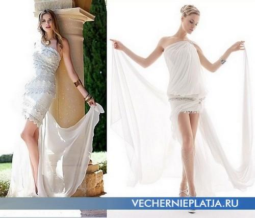 Короткие свадебные платья с длинным шлейфом