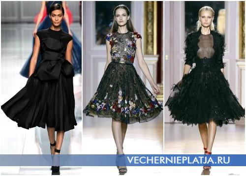 Маленькое черное вечернее платье с юбкой-колокол – на фото модели Christian Dior (1), Zuhair Murad (2,3)
