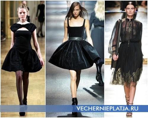 Короткое черное маленькое платье с пышной юбкой – на фото модели Alexis Mabille, Lanvin, Salvatore Ferragamo