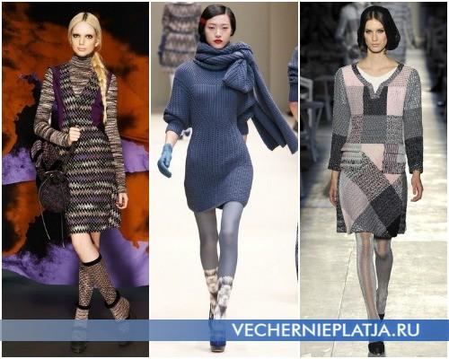 Платье-свитер, можные расцветки – на фото модели Missoni, Cacharel, Chanel