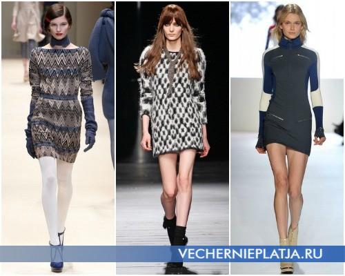 Серые платья-свитера в коллекциях Cacharel, Iceberg, Lacoste