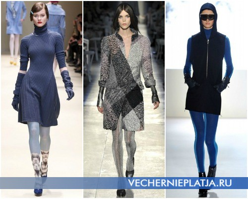 С какими колготками модно носить платье-свитер – на фото модели Cacharel, Chanel, Lacoste