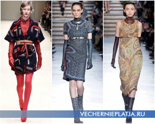 С каким поясом модно носить платье-свитер – на фото модели Cacharel (1), Missoni (2,3)