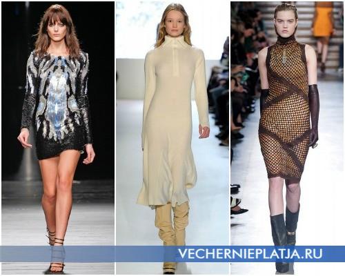Теплые платья-свитера для разных типов фигуры – на фото модели Iceberg, Lacoste, Missoni