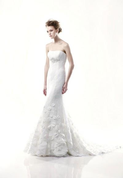 Свадебное платье бюстье с юбкой годе фото