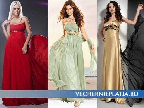 Длинные платья в стиле Ампир фото