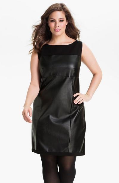 Кожаное платье для полных черное в коллекции DKNY фото