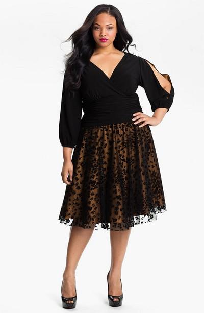 Модное черное платье Eliza J для полных фото