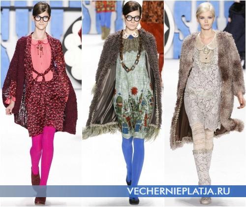 Платье с круглым воротником на фото в показе коллекции Осень-Зима 2012-2013 от Anna Sui