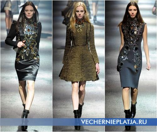 Воротник с камнями в моделях платьев от Lanvin