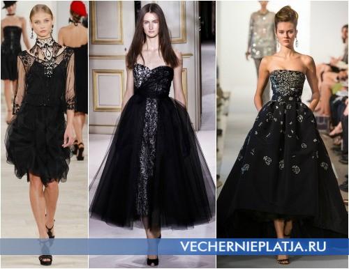 Платья на выпускной 2013 черного цвета фото Ralph Lauren, Giambattista Valli, Oscar de la Renta