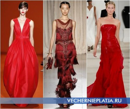 Выпускные платья 2013 красного цвета фото Andrew Gn, Marchesa, Ralph Lauren