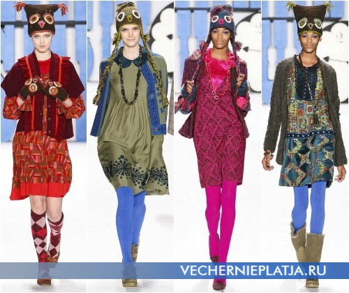 С чем модно носить платье зимой 2012-2013 – на фото коллекция Anna Sui