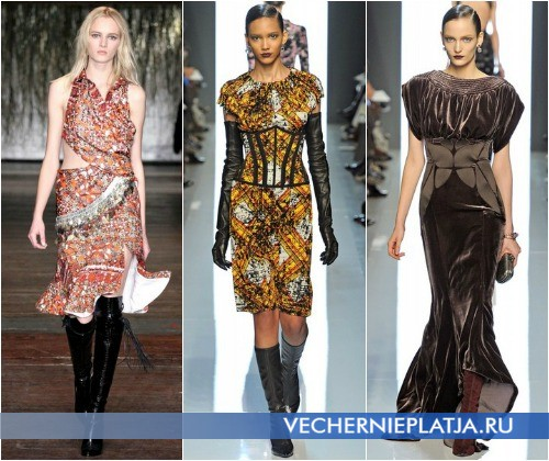Платье с сапогами Осень-Зима 2012-2013 от Altuzarra и Bottega Veneta
