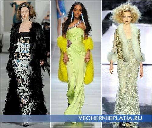 С чем носить длинное вечернее платье зимой – на фото Oscar de la Renta, Blumarine, Badgley Mischka