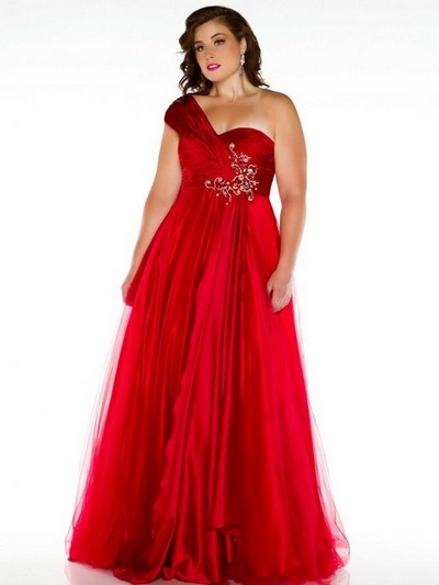 Красное выпускное платье 2013 для полных