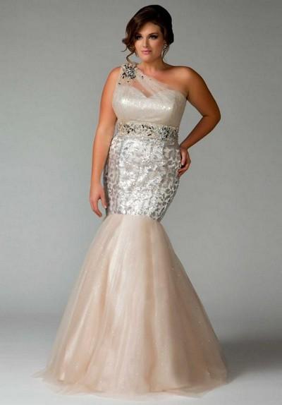 Белое выпускное платье-русалка для полных 2013