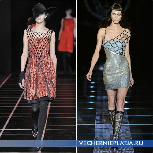 Платье декорированное сеткой от Giorgio Armani и Versace