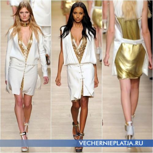 Белые вечерние платья с золотой сеткой от Paco Rabanne
