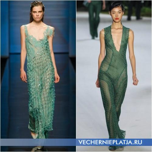 Зеленое платье-сетка от Alberta Ferretti и Akris