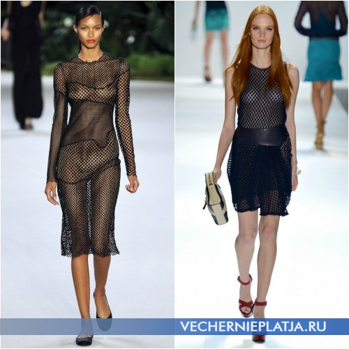 Черное платье-сетка от Akris и Charlotte Ronson фото