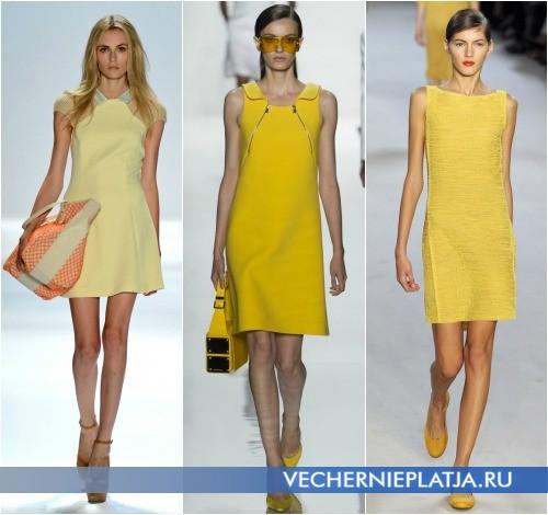 Платья в спортивном стиле желтого цвета от Charlotte Ronson, Michael Kors, Akris