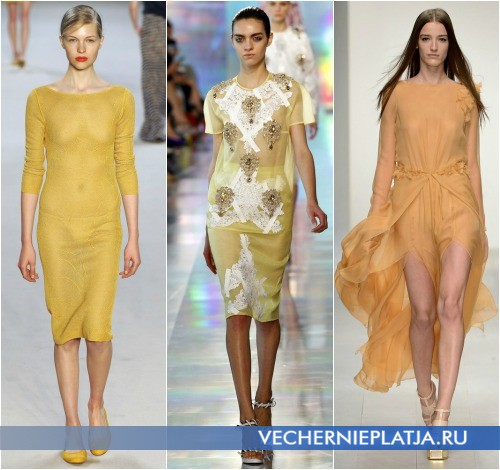 Желтые прозрачные платья 2013 от Akris, Christopher Kane, Felder Felder