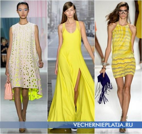 Контрастные сочетания аксессуаров с желтым платьем от Christian Dior, DKNY, Tracy Reese
