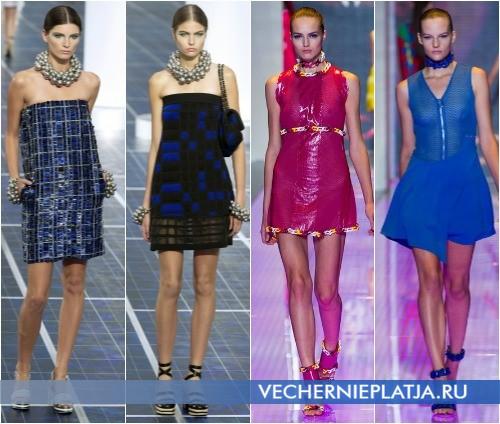 Модные цвета летних коротких платьев 2013, на фото модели Chanel и Versus