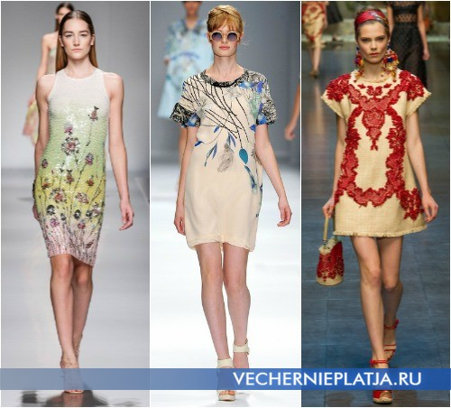 Модные узоры коротких летних платьев 2013 от Blumarine, Cacharel и Dolce & Gabbana