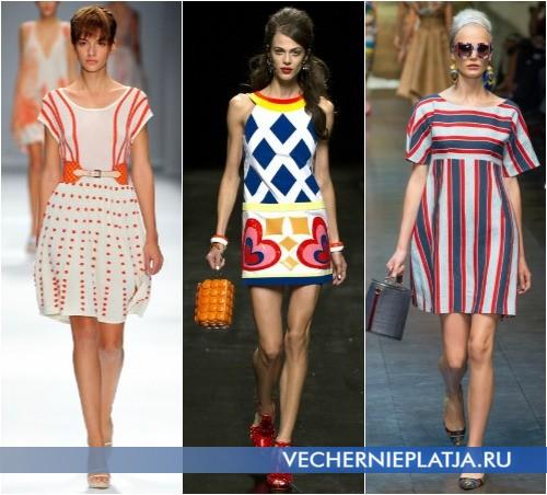 Короткие платья с принтом на лето 2013, на фото модели Cacharel, Moschino, Dolce & Gabbana